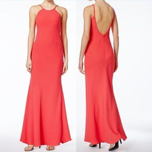 Calvin Klein Coral Pink Open Back Formal Gown